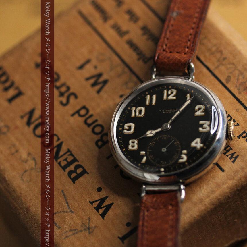 英国ベンソン 銀無垢&黒文字盤の風格あるアンティーク腕時計 【1918年製】-W1512-7