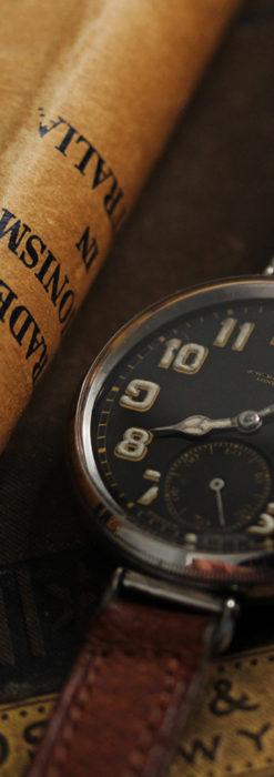 英国ベンソン 銀無垢&黒文字盤の風格あるアンティーク腕時計 【1918年製】-W1512-8