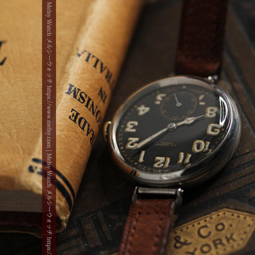 英国ベンソン 銀無垢&黒文字盤の風格あるアンティーク腕時計 【1918年製】-W1512-9