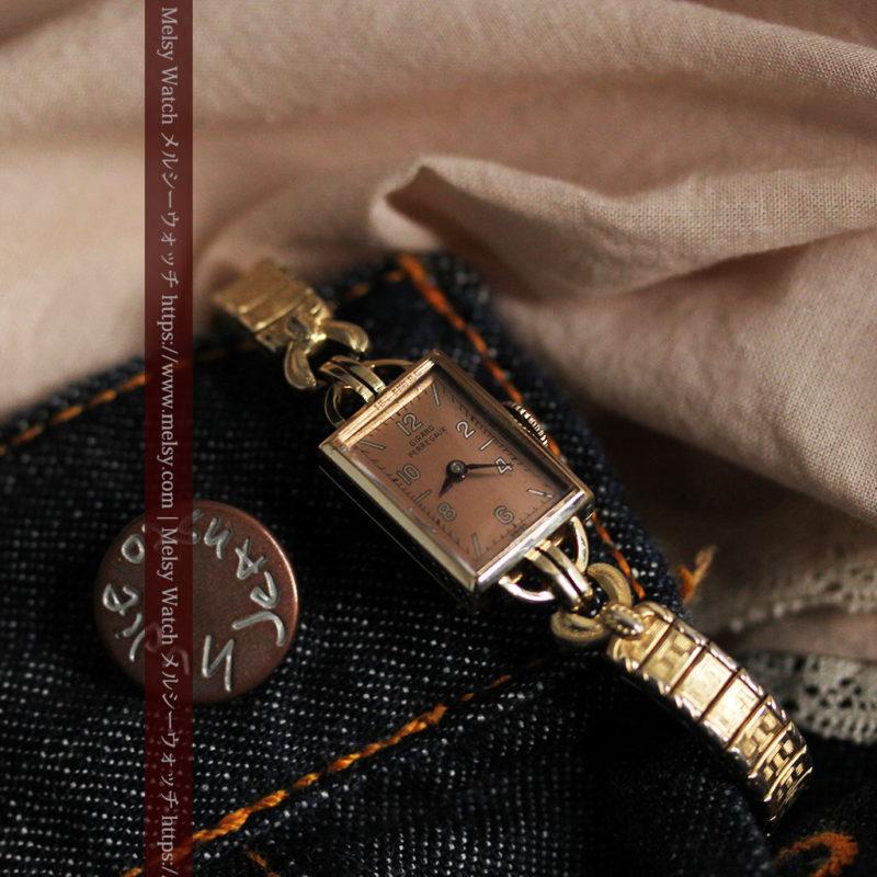 ジラールペルゴのコッパー色の上品な金無垢女性用アンティーク腕時計 【1940年頃】-W1515-1