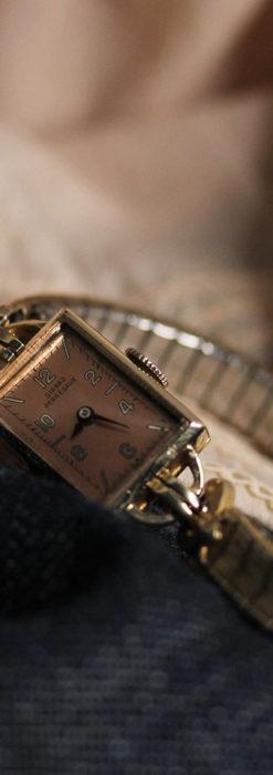 ジラールペルゴのコッパー色の上品な金無垢女性用アンティーク腕時計 【1940年頃】-W1515-10