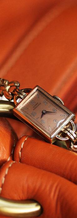 ジラールペルゴのコッパー色の上品な金無垢女性用アンティーク腕時計 【1940年頃】-W1515-11