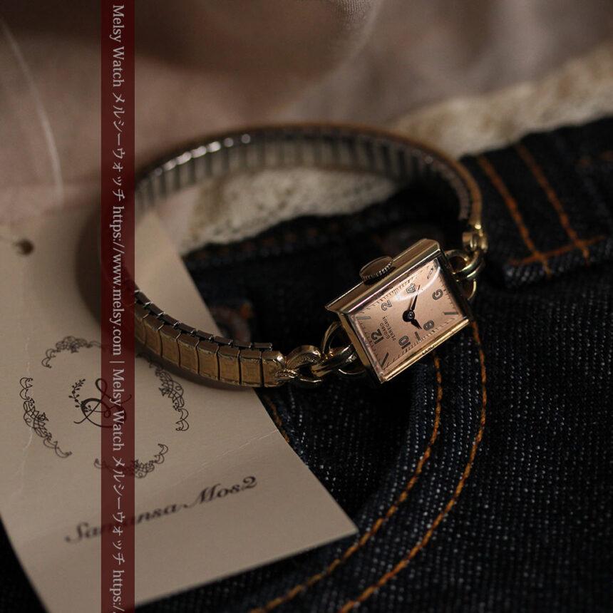ジラールペルゴのコッパー色の上品な金無垢女性用アンティーク腕時計 【1940年頃】-W1515-2