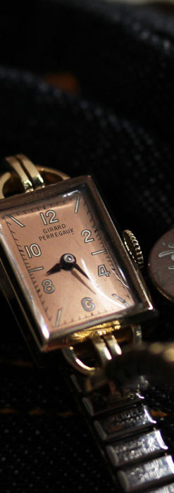 ジラールペルゴのコッパー色の上品な金無垢女性用アンティーク腕時計 【1940年頃】-W1515-3