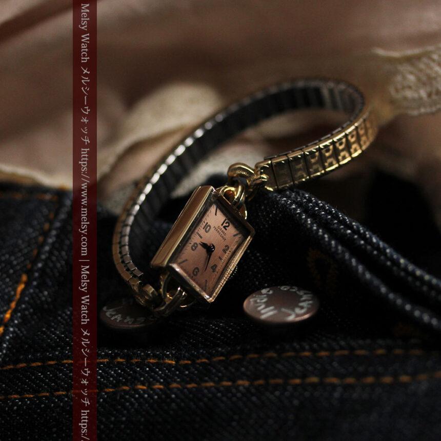 ジラールペルゴのコッパー色の上品な金無垢女性用アンティーク腕時計 【1940年頃】-W1515-4