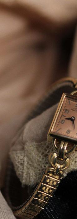 ジラールペルゴのコッパー色の上品な金無垢女性用アンティーク腕時計 【1940年頃】-W1515-5