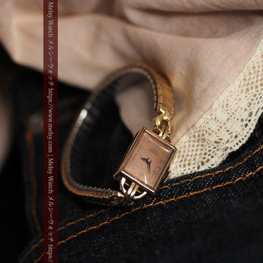 ジラールペルゴのコッパー色の上品な金無垢女性用アンティーク腕時計 【1940年頃】-W1515-6