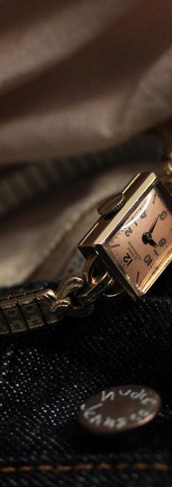 ジラールペルゴのコッパー色の上品な金無垢女性用アンティーク腕時計 【1940年頃】-W1515-7