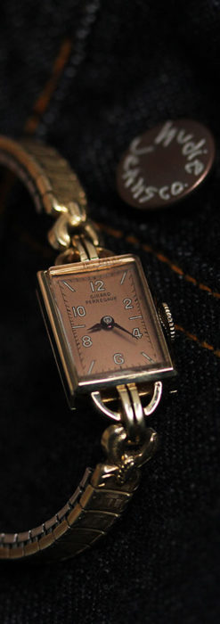 ジラールペルゴのコッパー色の上品な金無垢女性用アンティーク腕時計 【1940年頃】-W1515-8