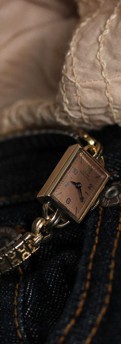 ジラールペルゴのコッパー色の上品な金無垢女性用アンティーク腕時計 【1940年頃】-W1515-9