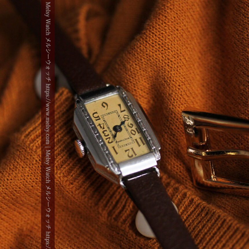 昭和初期の深みあるウォルサムの女性用アンティーク腕時計 【1934年製】箱付き-W1516-4