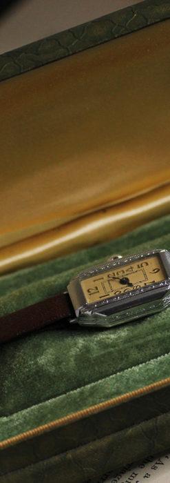 昭和初期の深みあるウォルサムの女性用アンティーク腕時計 【1934年製】箱付き-W1516-9