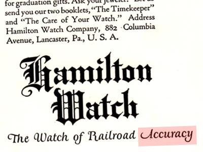 ハミルトンの昔の時計広告の一部
