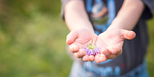 花をプレゼントする子供