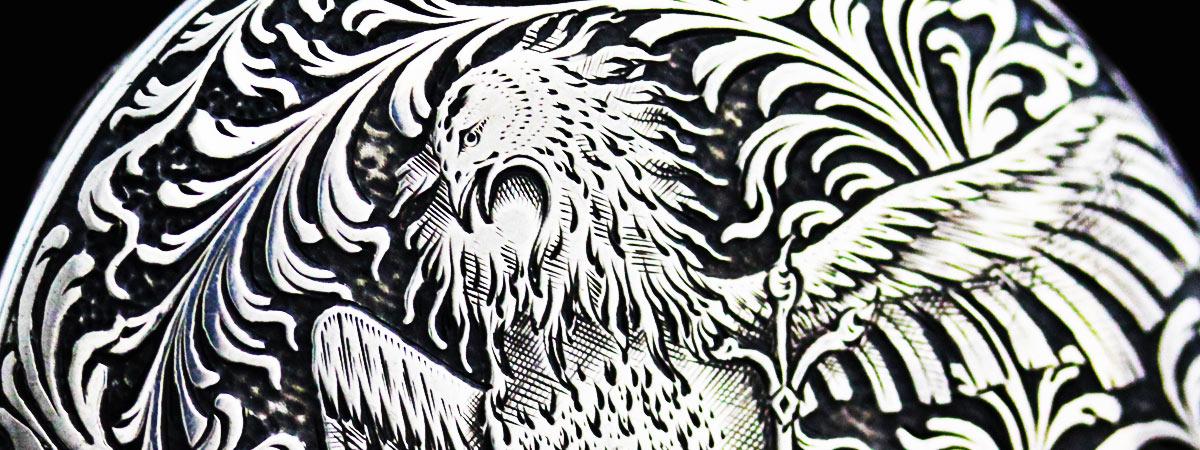 懐中時計に施された不死鳥の彫り